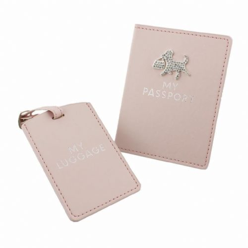 Pretty Pink Passport Holder & Luggage Tag Ladies Gift